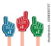 bright colorful foam fingers... | Shutterstock .eps vector #1038350737