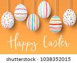 happy easter. hanging easter... | Shutterstock .eps vector #1038352015