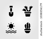 house plants vector icon set.... | Shutterstock .eps vector #1038356179