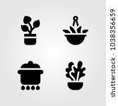 house plants vector icon set.... | Shutterstock .eps vector #1038356659