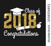 vector class of 2018 badge.... | Shutterstock .eps vector #1038356851