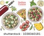 italian cuisine top view frame. ... | Shutterstock .eps vector #1038360181