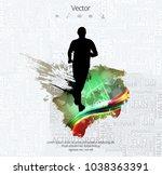 silhouette of marathon runner | Shutterstock .eps vector #1038363391