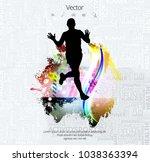 silhouette of marathon runner | Shutterstock .eps vector #1038363394