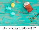 easter cake and easter eggs ... | Shutterstock . vector #1038368209
