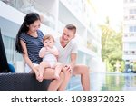 portrait from vacation. happy... | Shutterstock . vector #1038372025
