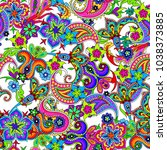 seamless pattern with paisley | Shutterstock .eps vector #1038373885