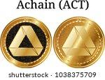 set of physical golden coin...   Shutterstock .eps vector #1038375709