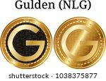 set of physical golden coin...   Shutterstock .eps vector #1038375877