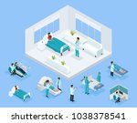 isometric healthcare concept... | Shutterstock .eps vector #1038378541