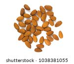almonds on the table  top view. ...   Shutterstock . vector #1038381055