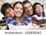 happy family portrait smiling... | Shutterstock . vector #103838261