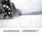 beautiful landscape with snow... | Shutterstock . vector #1038383017
