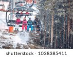 skiing in high mountains at...   Shutterstock . vector #1038385411