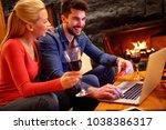online order smiling couple...   Shutterstock . vector #1038386317