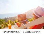 girl freelance work typing on... | Shutterstock . vector #1038388444