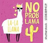 cute llama card with no drama... | Shutterstock .eps vector #1038389419