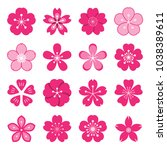 sakura icons. collection of 16... | Shutterstock .eps vector #1038389611