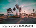 venice beach sunrise palm trees  | Shutterstock . vector #1038390154