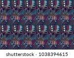 fabric pattern. tribal ornament....   Shutterstock . vector #1038394615