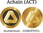 set of physical golden coin...   Shutterstock .eps vector #1038395551
