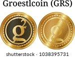 set of physical golden coin... | Shutterstock .eps vector #1038395731