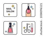nail salon manicure outline...   Shutterstock .eps vector #1038396121