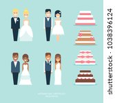 wedding cakes and figurine... | Shutterstock .eps vector #1038396124