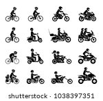collection of motorcycles and... | Shutterstock .eps vector #1038397351