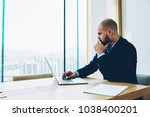 thoughtful bearded proud ceo... | Shutterstock . vector #1038400201