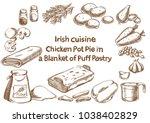 irish cuisine. chicken pot pie...   Shutterstock .eps vector #1038402829