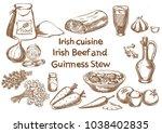 irish cuisine. irish beef and... | Shutterstock .eps vector #1038402835