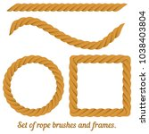set of rope frames and brushes. ...   Shutterstock .eps vector #1038403804