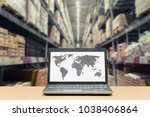 laptop with white blank screen...   Shutterstock . vector #1038406864