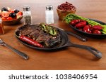 lunch of grilled meat served on ... | Shutterstock . vector #1038406954