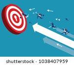 business team reach their goal. ... | Shutterstock .eps vector #1038407959