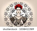frida kahlo vector  portrait.... | Shutterstock .eps vector #1038411589