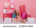 excited curly young woman in... | Shutterstock . vector #1038411889