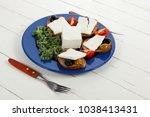 white feta greek cheese... | Shutterstock . vector #1038413431