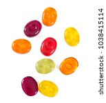 colorful fruit hard candy... | Shutterstock . vector #1038415114