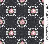 shabby chic rose seamless... | Shutterstock .eps vector #1038422035