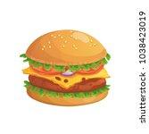 cheeseburger icon. cartoon... | Shutterstock .eps vector #1038423019