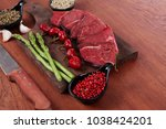 fresh beef meat asparagus... | Shutterstock . vector #1038424201
