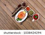 breakfast delicious portion of... | Shutterstock . vector #1038424294