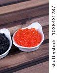black sturgeon hausen caviar... | Shutterstock . vector #1038431287