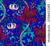 colorful floral seamless vector ... | Shutterstock .eps vector #1038432385