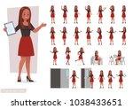 set of women working in office... | Shutterstock .eps vector #1038433651