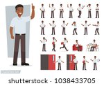 set of man working in office and presentation in various action. | Shutterstock vector #1038433705