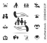 safe famile  vector icon... | Shutterstock .eps vector #1038434119