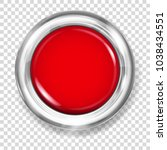 big red plastic button with... | Shutterstock .eps vector #1038434551